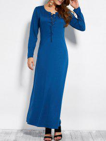 Lace Up Long Sleeve Maxi Dress - Blue L