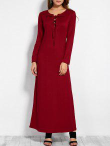 Lace Up Long Sleeve Maxi Dress - Red M