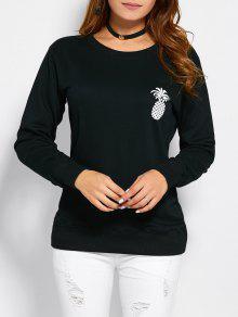 Sweatshirt A Encolure A Motif Contrasté  - Noir S
