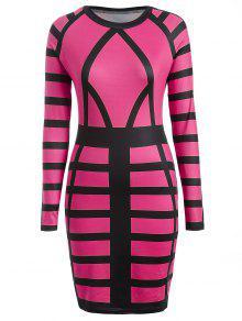 Verre à Imprimé Long Sleeve Bodycon Dress - Rose S