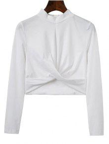 Cropped High Collar T-Shirt - White L