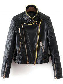 Buy Zip Buckle Design Faux Leather Jacket - BLACK L