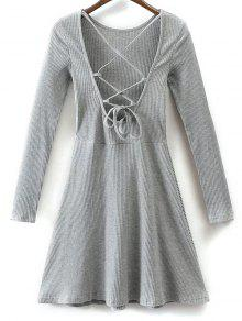 Lace Up Back Skater Dress - Gray S