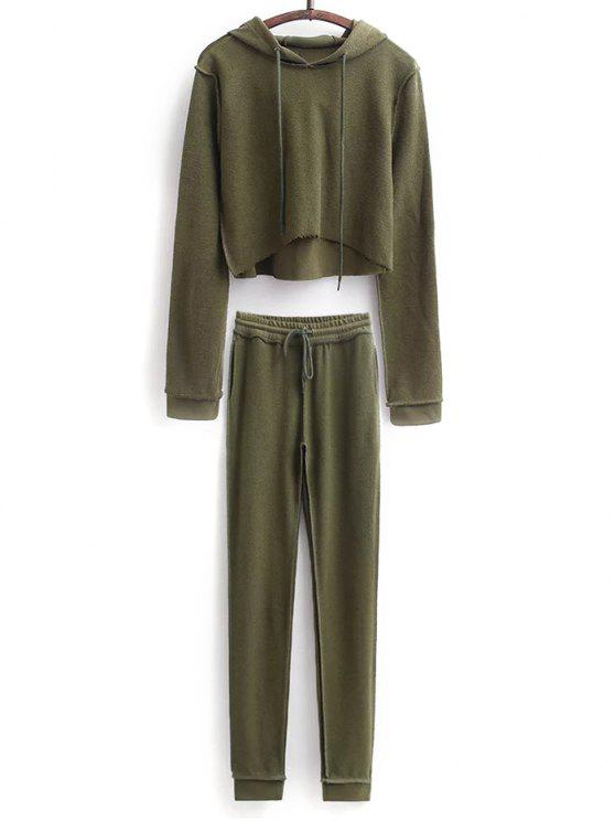 shops Cropped Hoodie and Drawstring Sports Pants - ARMY GREEN S
