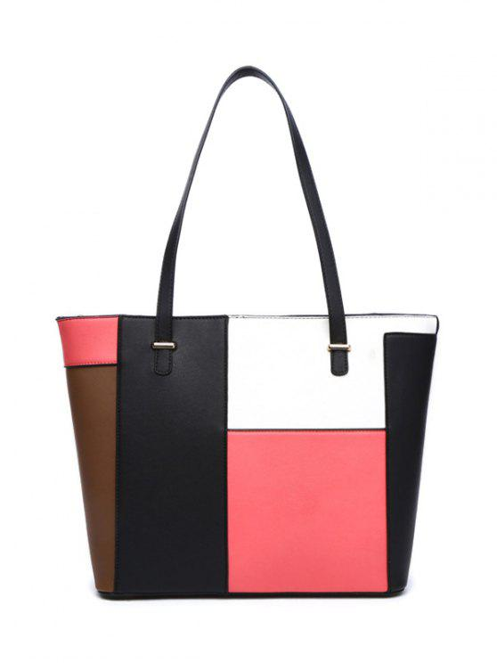shop Faux Leather Color Block Shoulder Bag - PINK