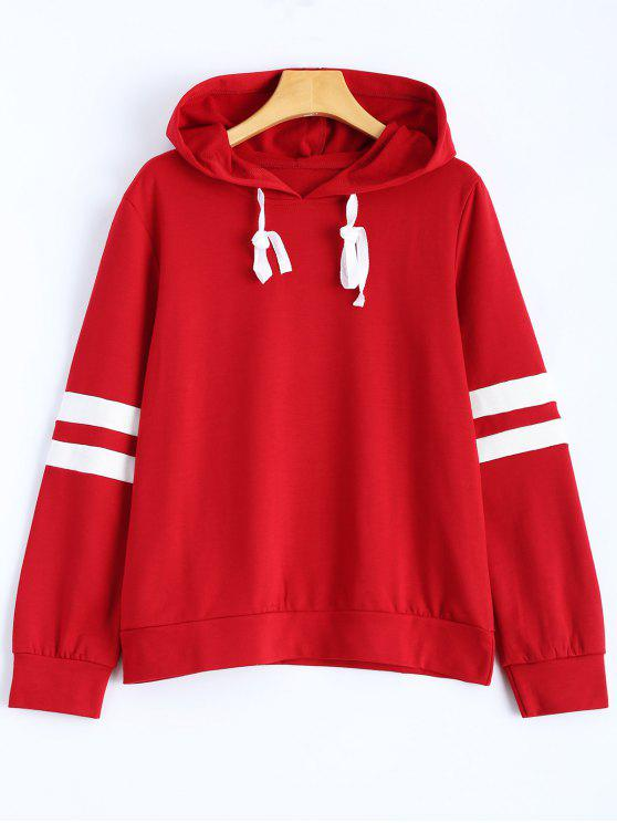 unique Stripes Pullover Hooded Sweatshirt - WINE RED L