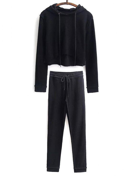 womens Cropped Hoodie and Drawstring Sports Pants - BLACK S