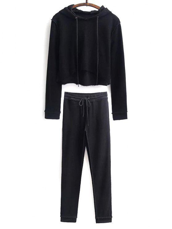 Hoodie court avec pantalon sportif à cordon de serrage - Noir S