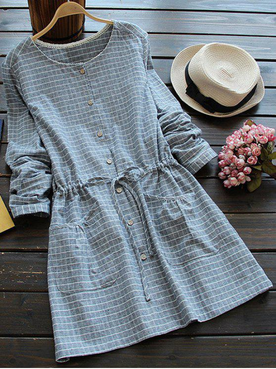 ladies Drawstring Round Neck Checked Button Up Dress - BLUE GRAY ONE SIZE