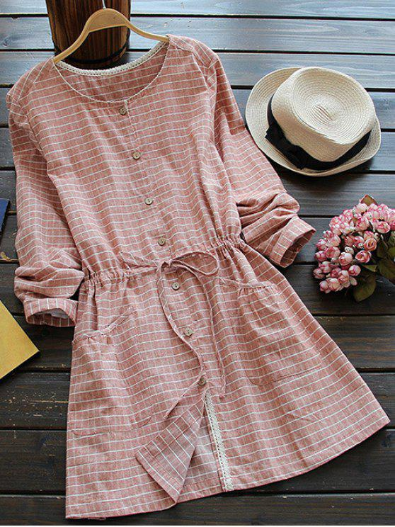 lady Drawstring Round Neck Checked Button Up Dress - SPICE ONE SIZE