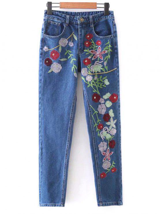 fancy Floral Embroidered Tapered Jeans - DENIM BLUE L