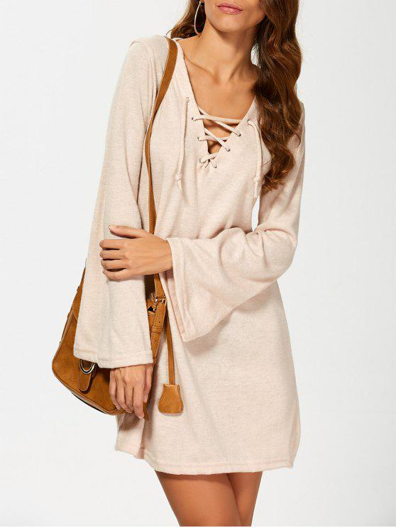 chic Flared Sleeve Lace Up Knit Dress - KHAKI L