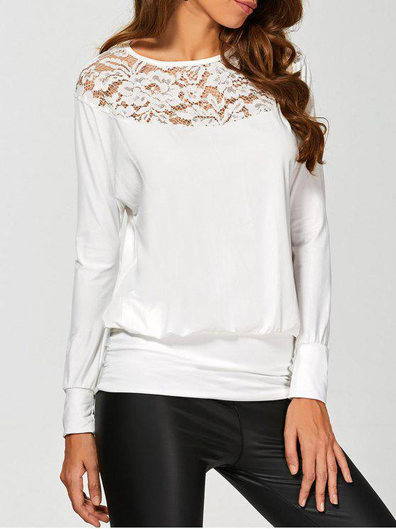 Sleeve Lace Yoke long T-shirt - Blanc XL