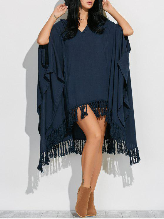women Hooded Poncho Midi Dress With Sleeves - CADETBLUE S