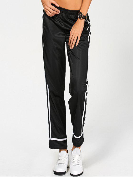 Pantalon rayé côté ,à taille élastique - Noir L