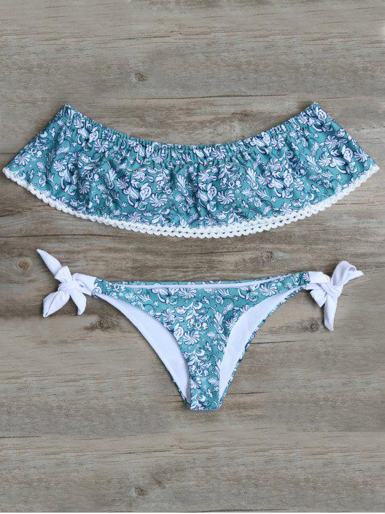 Off Shoulder Padded Tiny Floral Bikini - Blue Green S