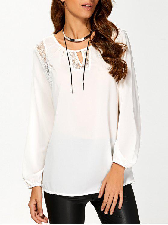 ladies Lace Panel Fitting T-Shirt - WHITE XL