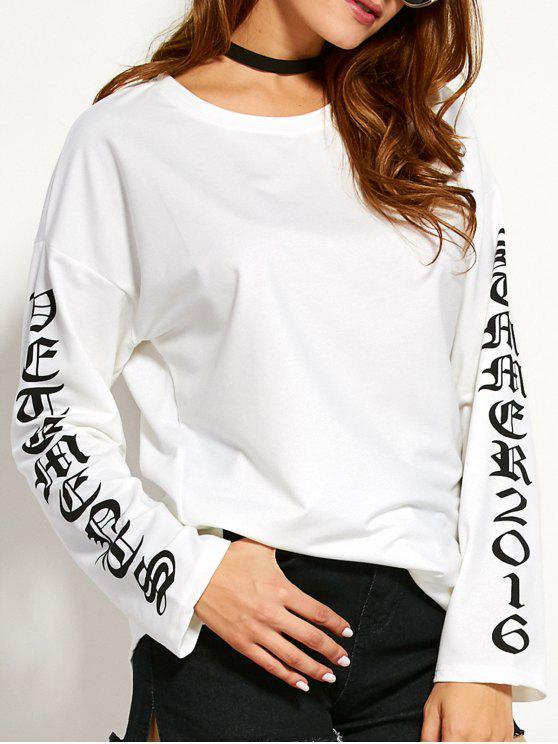 Ronda de cuello camiseta gráfica - Blanco L