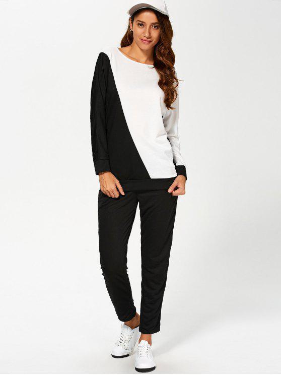 Bloque de color Sudadera con pantalones Gimnasio Outfit - Blanco y Negro L