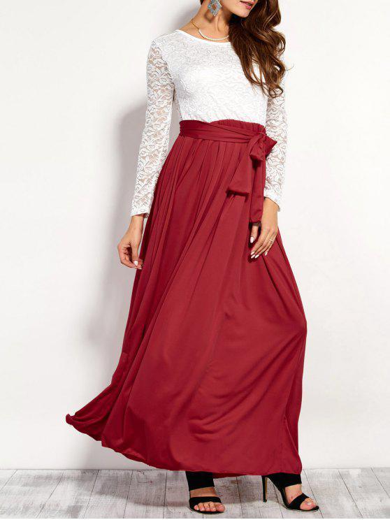 Maxi Vestido Empalme Superior Encaje - Rojo L