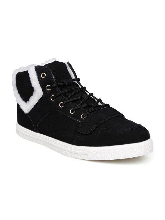 جلد الغزال الضبابي أحذية الكاحل - أسود 43