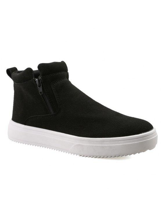 عارضة مزدوجة زيبس جلد الغزال الأحذية - أسود 41