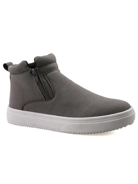 عارضة مزدوجة زيبس جلد الغزال الأحذية - اللون الرمادي 43
