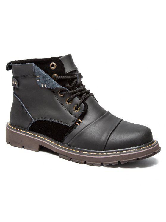 جلد الغزال إدراج الأحذية الجلدية قصيرة - أسود 40