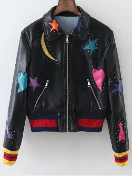women's Rivet Star Moon Patched Bomber Jacket - BLACK S