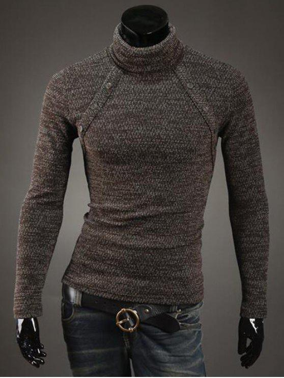 Pulsante impreziosito maglione dolcevita - caffè M