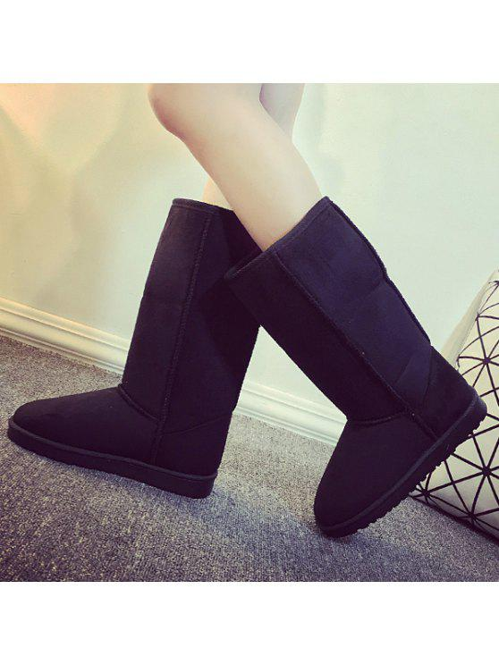 سويد منتصف العجل أحذية الثلوج - أسود 39