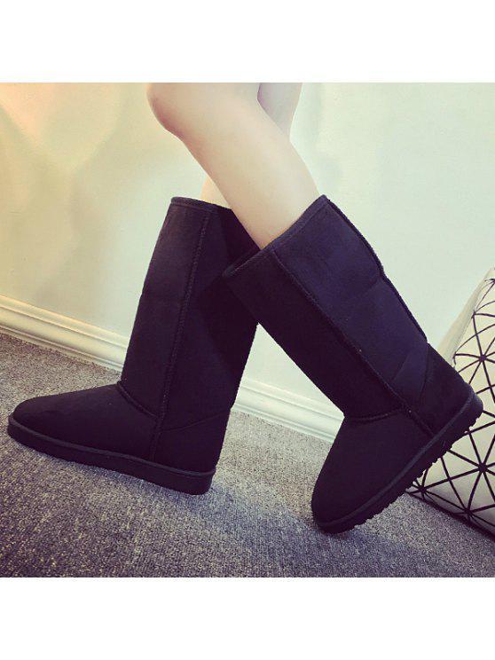 سويد منتصف العجل أحذية الثلوج - أسود 40