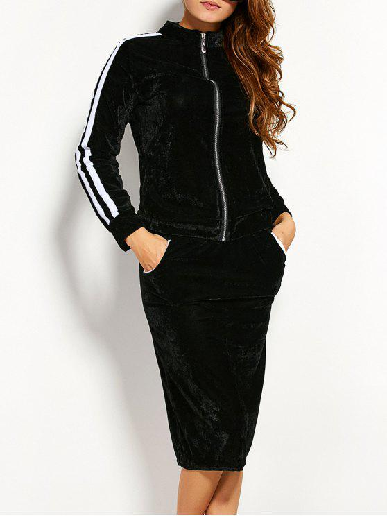 shop Pleuche Jacket With Pencil Skirt - BLACK XL