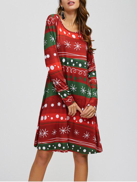 Copia de copo de nieve de Navidad A Line Dress - Rojo & Verde Única Talla