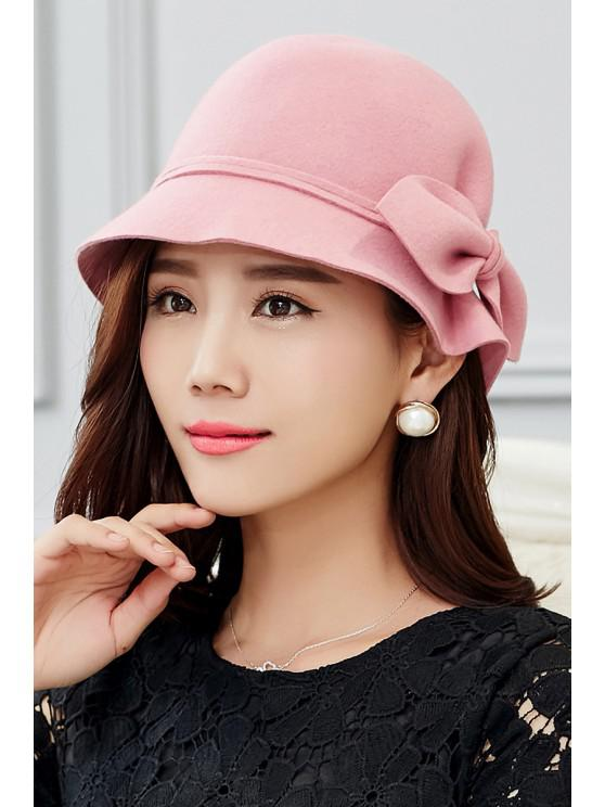 women's Outdoor Big Bowknot Wool Cloche Hat - PINK