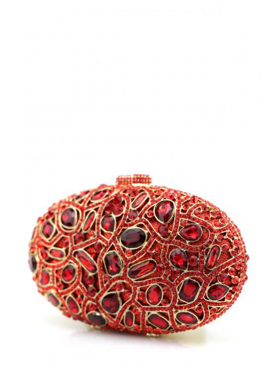 ladies Oval Rhinestone Evening Bag - RED