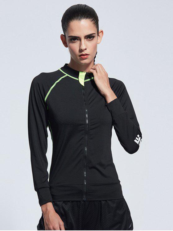 shop Bodycon Zipper Yoga Jacket - BLACK XL