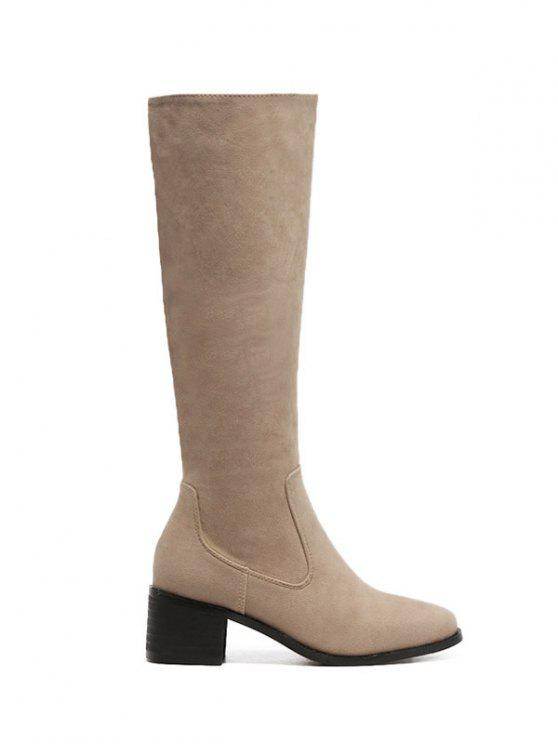 sale Zip Up Chunky Heel Knee High Boots - APRICOT 37