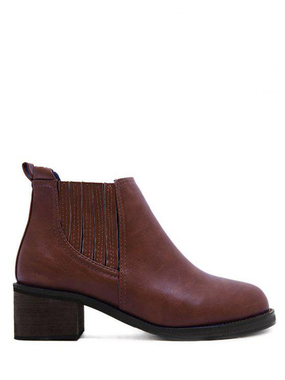 lady Faux Leather Chunky Heel Ankle Boots - BROWN 38