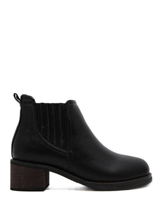 best Faux Leather Chunky Heel Ankle Boots - BLACK 39