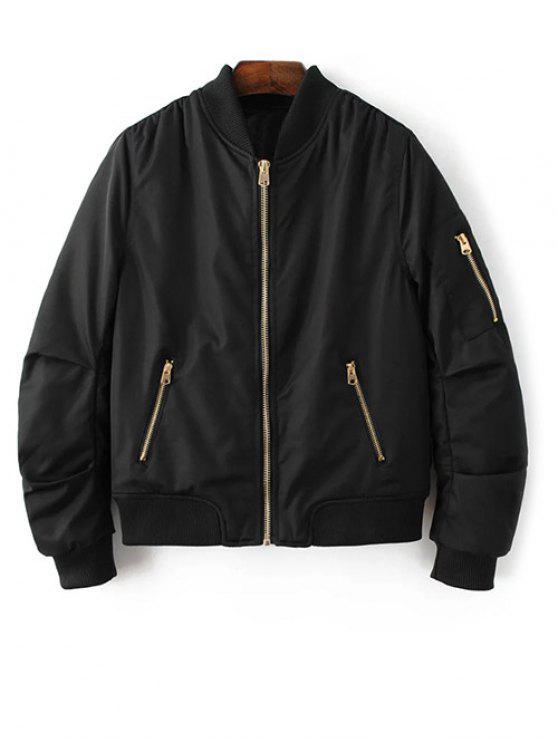 unique Pilot Jacket With Pockets - BLACK M