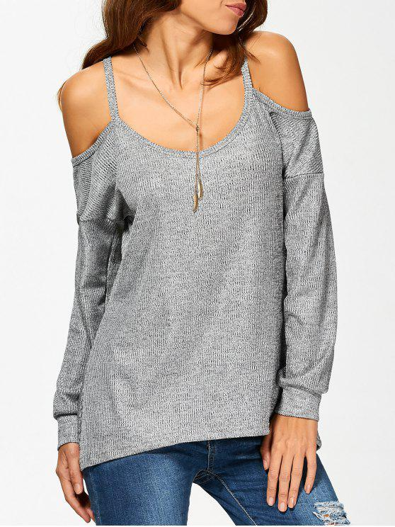 hot Cold Shoulder Long Sleeves T-Shirt for Women - GRAY S