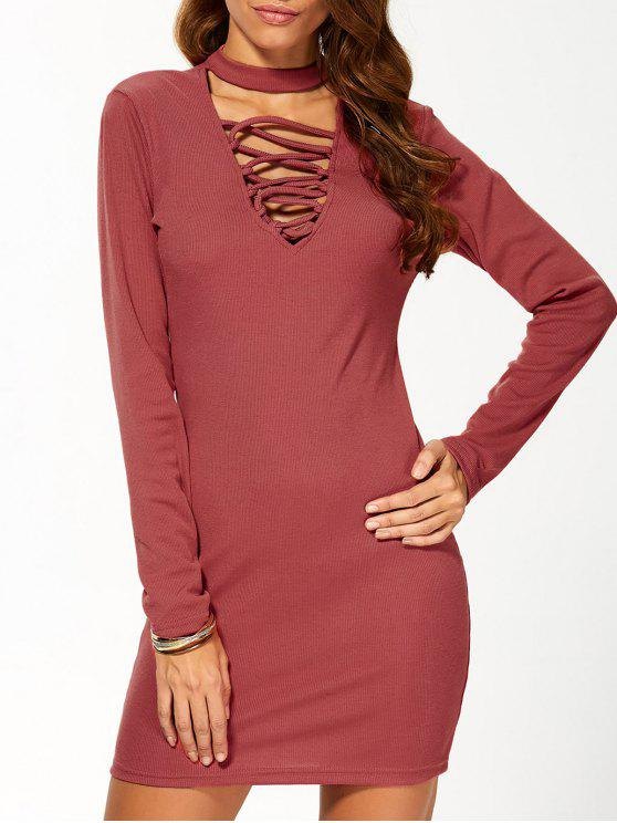 womens Long Sleeve Lace Up Choker Bodycon Dress - RED M