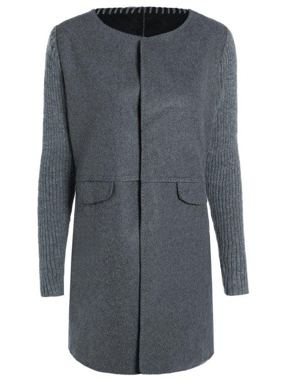 unique Knitted Sleeve Spliced Round Neck Coat - DEEP GRAY XL