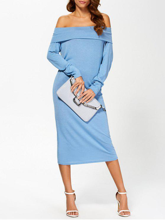 online Foldover Off The Shoulder Midi Dress - BLUE S