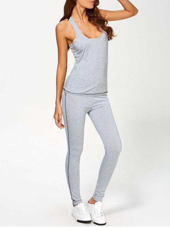 lady Color Block Tank Top and Sports Skinny Leggings - GRAY S