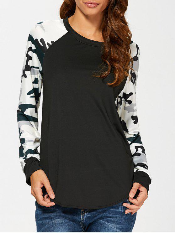 Camuflaje camiseta manga de la camiseta - Negro L