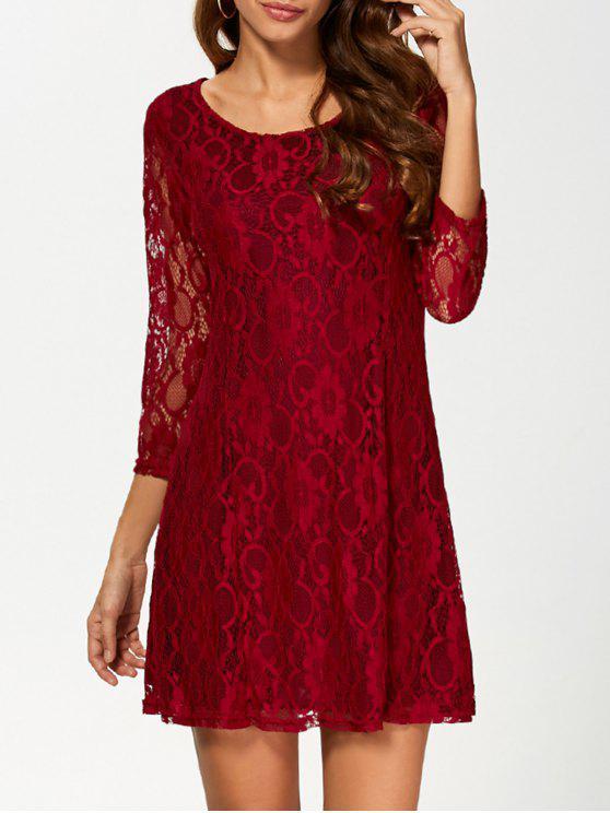 Tres cuartos vestido de encaje de manga acampanada - Vino Rojo 2XL