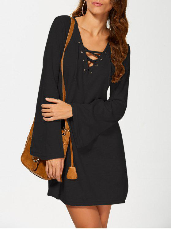 womens Flared Sleeve Lace Up Knit Dress - BLACK S
