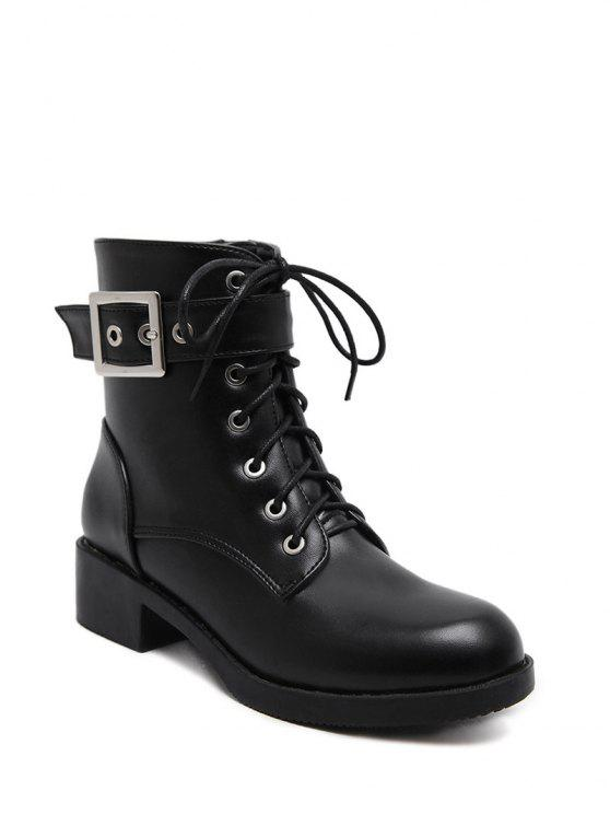fancy Chunky Heel Buckle Strap Combat Boots - BLACK 37